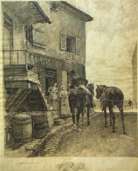 L'auberge de Poissy par Louis Monziès d'après Meissonier