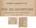 Journal Officiel - Récompenses Exposition Universelle de 1889